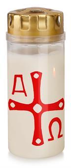 Osterlicht mit Windschutzdeckel, Höhe 16 cm, 4 Tage Brenndauer