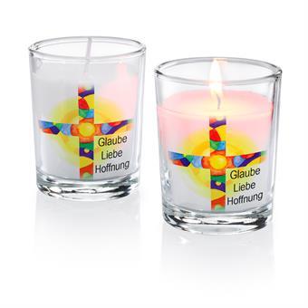 """Glas-Windlicht """"Glaube-Liebe-Hoffnung"""""""