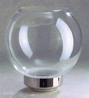 Flambeaux-Glas Klassik vernickelt, Kugelform