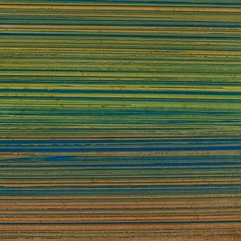 Verzierwachsplatte, blau-orange-grün