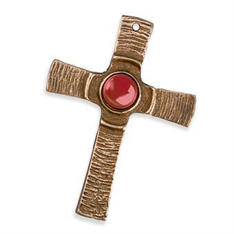 Bronzekreuz mit rotem Stein
