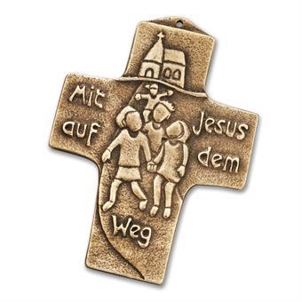 """Bronzekreuz """"Mit Jesus auf den Weg"""""""