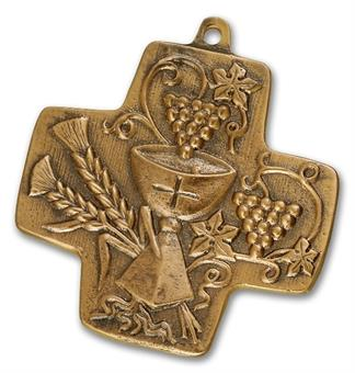 """Bronzekreuz """"Brot-Wein-Kelch"""""""