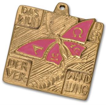 """Bronzekreuz mit Emaille """"Schmetterling"""""""