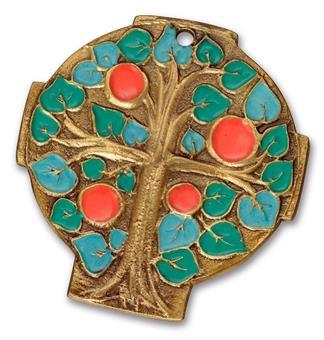 """Bronzekreuz mit Emaille """"Lebensbaum"""""""