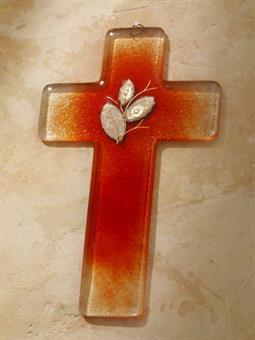 Glaskreuz, rot-orange, Format 20 x 12 cm