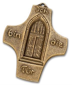"""Bronzekreuz """"Ich bin die Tür"""""""