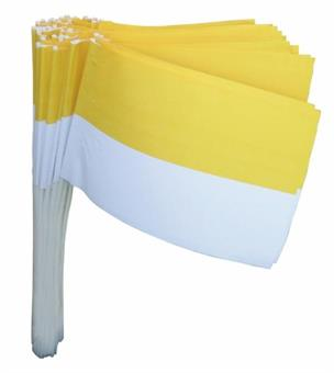 Papierfähnchen, gelb/weiß