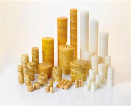 100%-Bienenwachskerze, 150/70mm natur Marmoriert natur | 150 mm | 70 mm