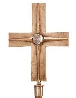 Vortragekreuz, Bronze mit Bergkristall,