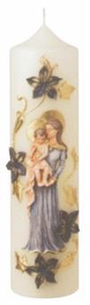 Marienkerze mit Madonna, Format 30/ 8 cm
