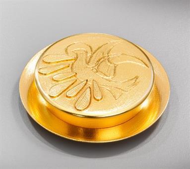 Versehpatene, Messing vergoldet, Durchmesser ca. 10 cm (für ca. 10 Brothostien)