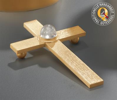Modernes Liegekreuz, vergoldet