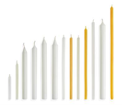 Opferkerzen 250/19 mm, weiß, gezogen, mit Dornloch