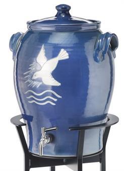 Weihwasserbehälter, Keramik,  blau