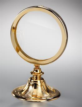 Ostensorium, Messing, vergoldet, Höhe 26 cm