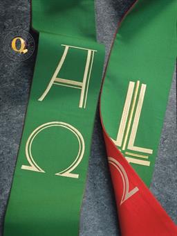 Doppelstola, rot/grün mit A/Ω