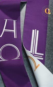 Doppelstola, weiß/violett mit A/Ω