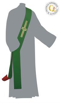 Diakon-Doppelstola, rot/grün mit Kreuz