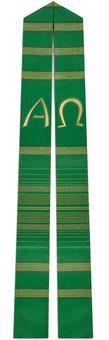 Langstola, grün mit A/Ω