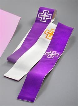 Versehstola, Wollmischgewebe, violett/weiß,