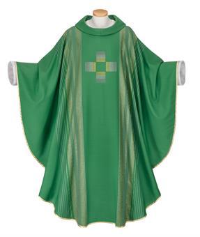 Kasel, grün mit Kreuz,