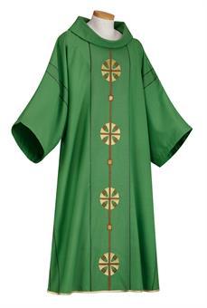 Dalmatik, grün mit Diakon- Inennstola