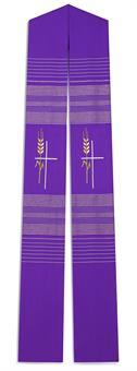 Langstola, violett mit Ähren und Kreuz