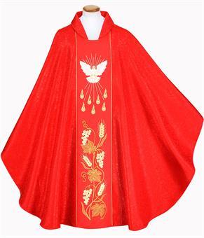 Pfingstkasel, rot mit Innenstola