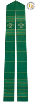 Stola, grün mit Kreuz