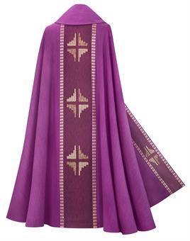 Rauchmantel, violett mit Innenstola