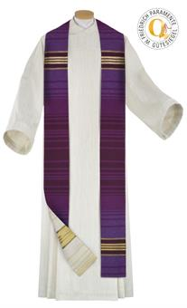 Doppelstola, violett/weiß