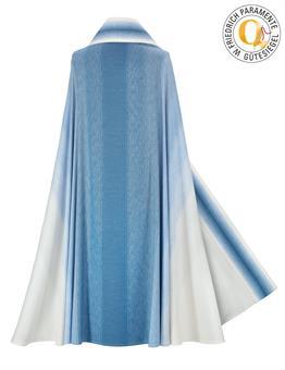 Marien-Rauchmantel, blau-weiß mit Innenstola