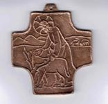 """Bronzekreuz  """"Hirte, Lamm"""""""