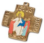 """Bronzekreuz mit Emaille """"Jesus, Kinder, Freund"""""""