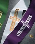 Diakon-Doppelstola, Wollmischgewebe, weiß/violett