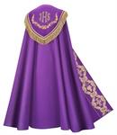 Rauchmantel, violett, mit Stola