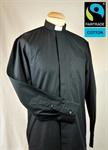 Collarhemd, schwarz , Langarm , Fairtrad Baumwolle Größe 43