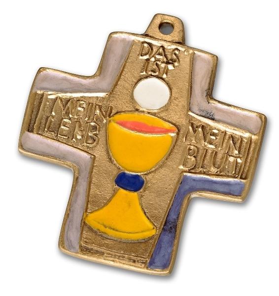"""Bronzekreuz mit Emaille """"Leib und Blut"""""""
