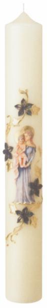 Marienkerze mit Madonna, Format 60/ 8 cm