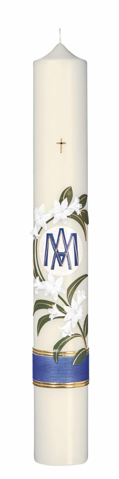 Marienkerze mit Lilien und MA Format 60/ 8 cm