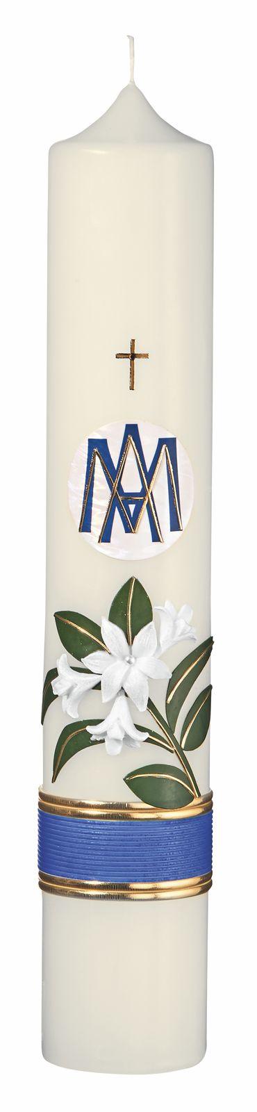 Marienkerze mit Lilien und MA Format 40/ 7 cm