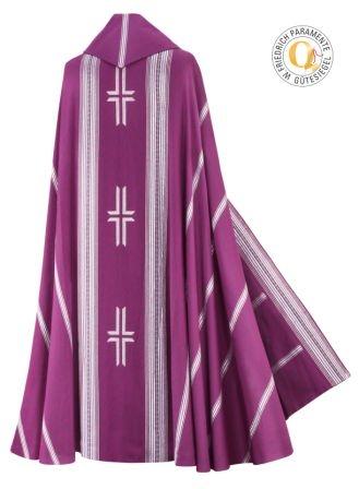Rauchmantel aus Wolltrevira, violett-silber