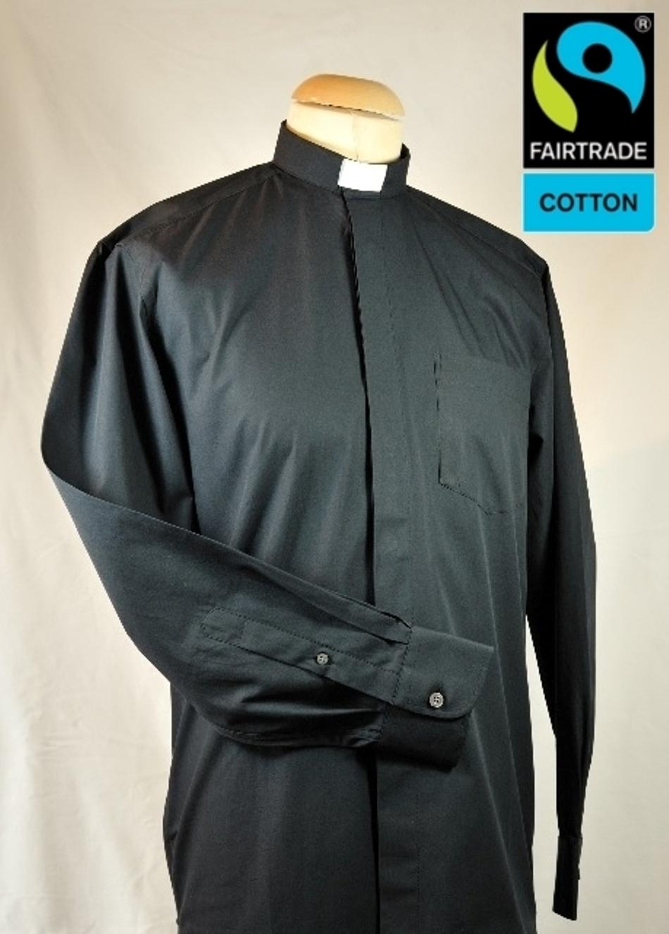 Collarhemd, schwarz Kurzarm