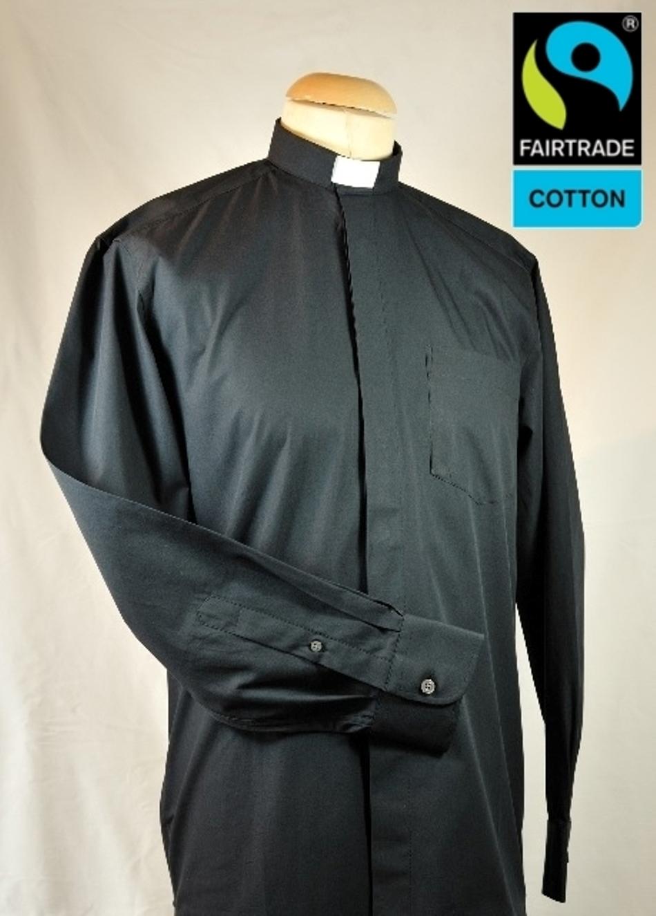 Collarhemd, schwarz , Langarm , Fairtrad Baumwolle